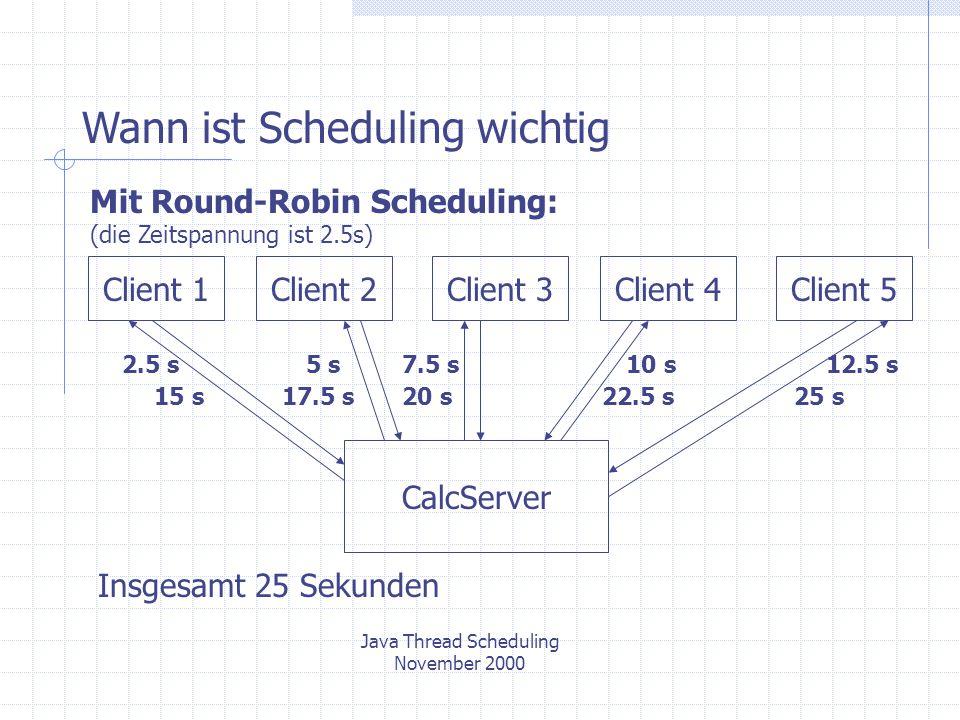 Wann ist Scheduling wichtig Mit Round-Robin Scheduling: (die Zeitspannung ist 2.5s) CalcServer Client 1Client 2Client 3Client 4Client 5 2.5 s5 s7.5 s10 s12.5 s Insgesamt 25 Sekunden Java Thread Scheduling November 2000 15 s17.5 s20 s22.5 s25 s
