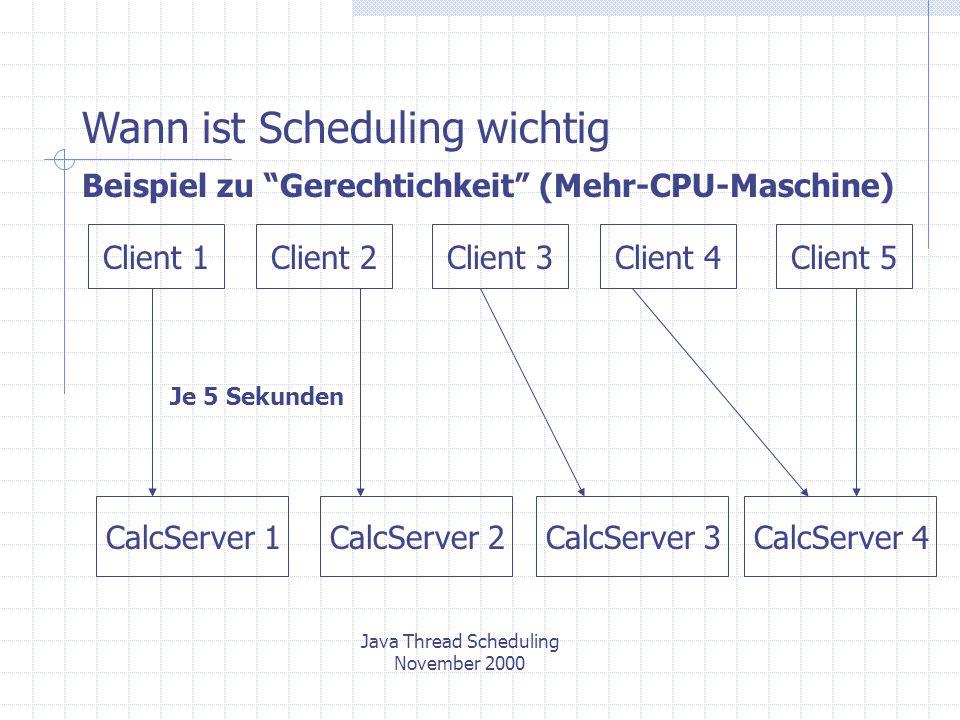 Java Thread Scheduling November 2000 Beispiel zu Gerechtichkeit (Mehr-CPU-Maschine) CalcServer 1 Client 1Client 2Client 3Client 4Client 5 Je 5 Sekunden CalcServer 3CalcServer 2CalcServer 4 Wann ist Scheduling wichtig