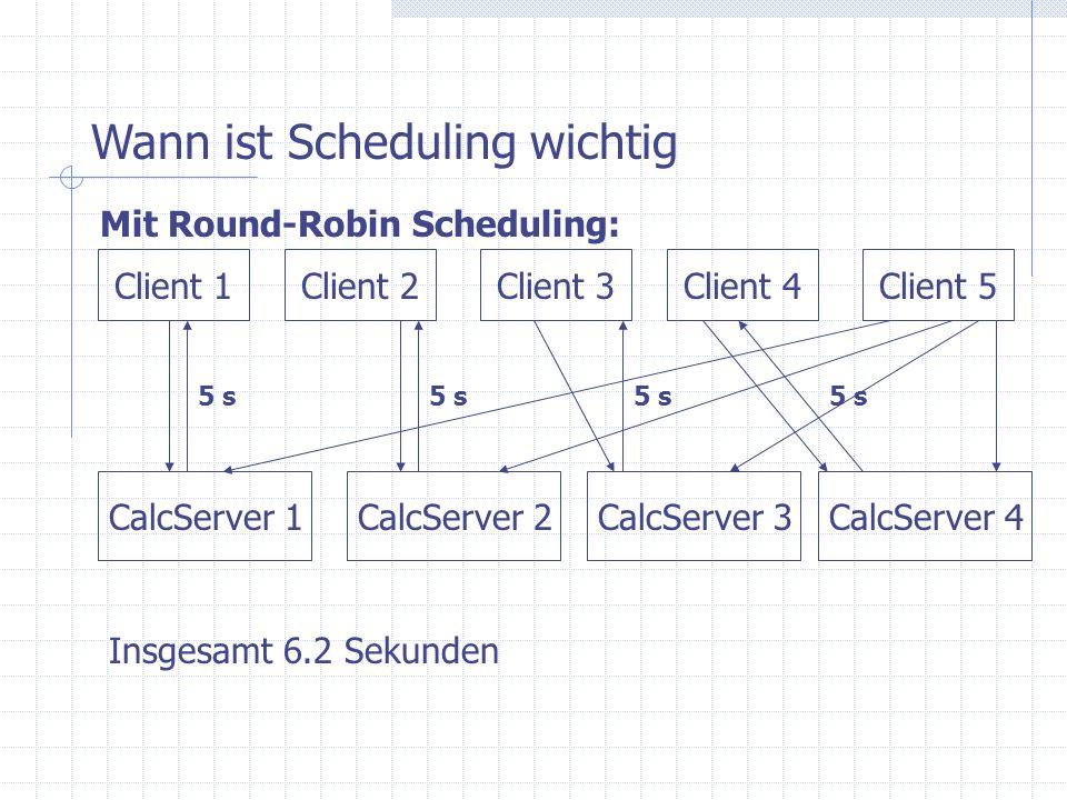 CalcServer 1 Client 1Client 2Client 3Client 4Client 5 CalcServer 3CalcServer 2 Wann ist Scheduling wichtig Mit Round-Robin Scheduling: CalcServer 4 5 s Insgesamt 6.2 Sekunden