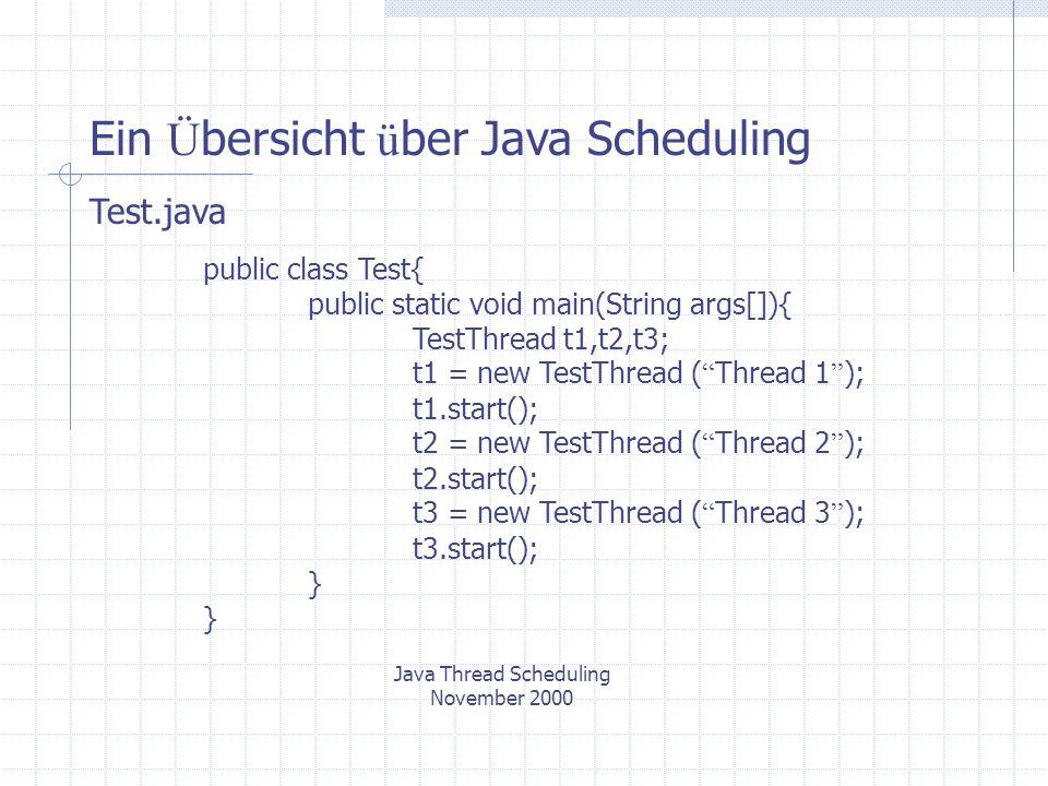 Scheduling mit Thread Priorit ä ten Java Thread Scheduling November 2000 Prioritäten in der Java API 3 Konstanten (static final) : Thread.MIN_PRIORITY=1 : Die kleinste Priorität, die ein Thread haben kann.