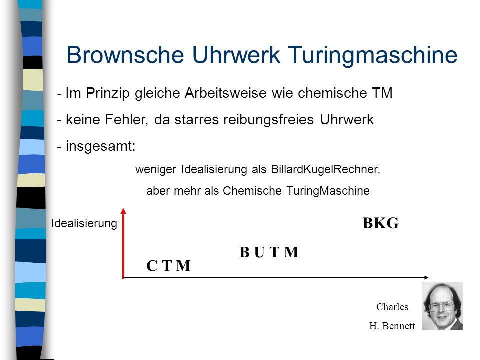 Brownsche Uhrwerk Turingmaschine - Im Prinzip gleiche Arbeitsweise wie chemische TM - keine Fehler, da starres reibungsfreies Uhrwerk - insgesamt: weniger Idealisierung als BillardKugelRechner, aber mehr als Chemische TuringMaschine Idealisierung C T M B U T M BKG Charles H.