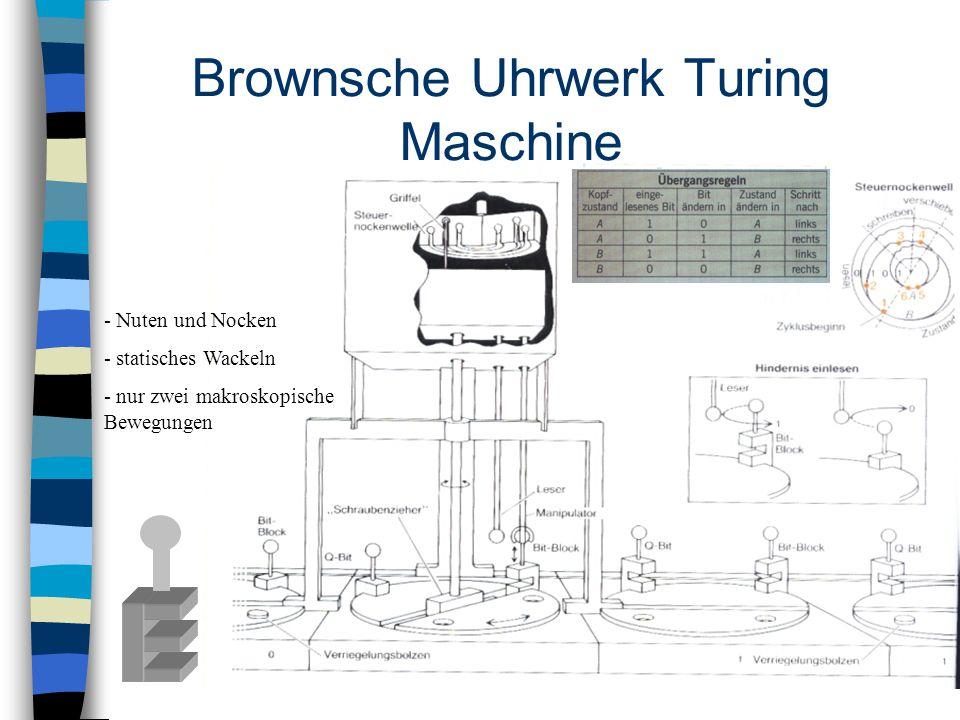 Brownsche Uhrwerk Turing Maschine - Nuten und Nocken - statisches Wackeln - nur zwei makroskopische Bewegungen