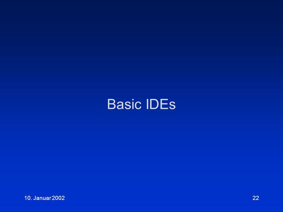 10. Januar 200222 Basic IDEs
