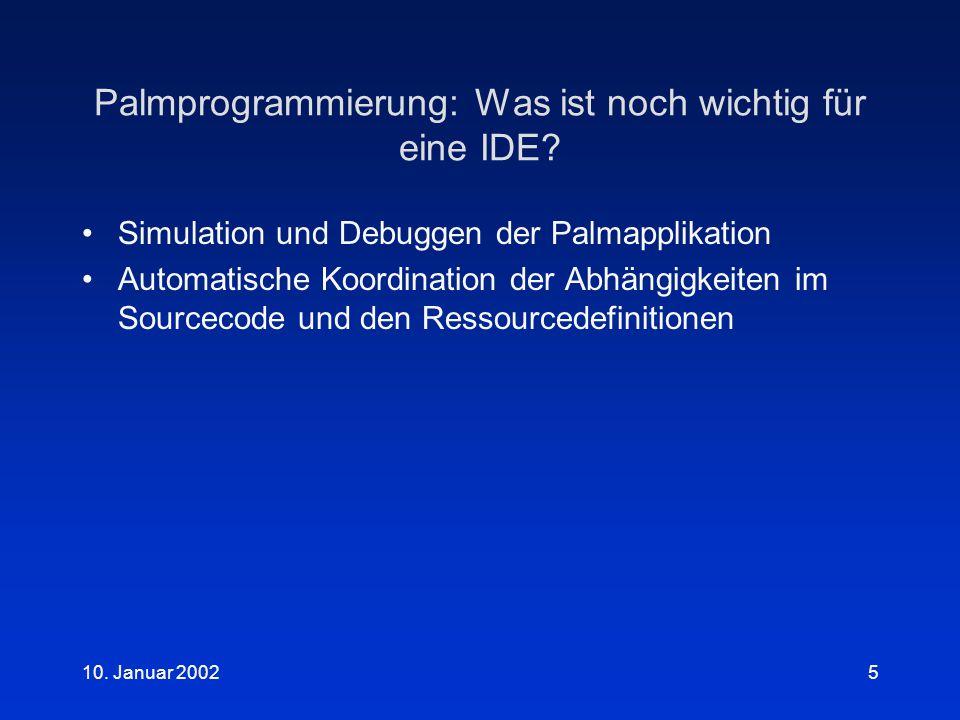 10.Januar 20025 Palmprogrammierung: Was ist noch wichtig für eine IDE.