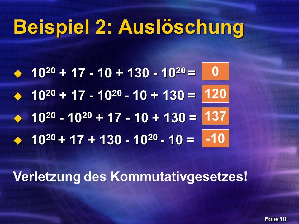 Folie 10 Beispiel 2: Auslöschung  10 20 + 17 - 10 + 130 - 10 20 =  10 20 + 17 - 10 20 - 10 + 130 =  10 20 - 10 20 + 17 - 10 + 130 =  10 20 + 17 +