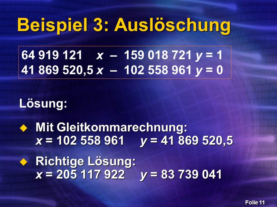 Folie 11 Beispiel 3: Auslöschung 64 919 121 x – 159 018 721 y = 1 41 869 520,5 x – 102 558 961 y = 0  Mit Gleitkommarechnung: x = 102 558 961 y = 41