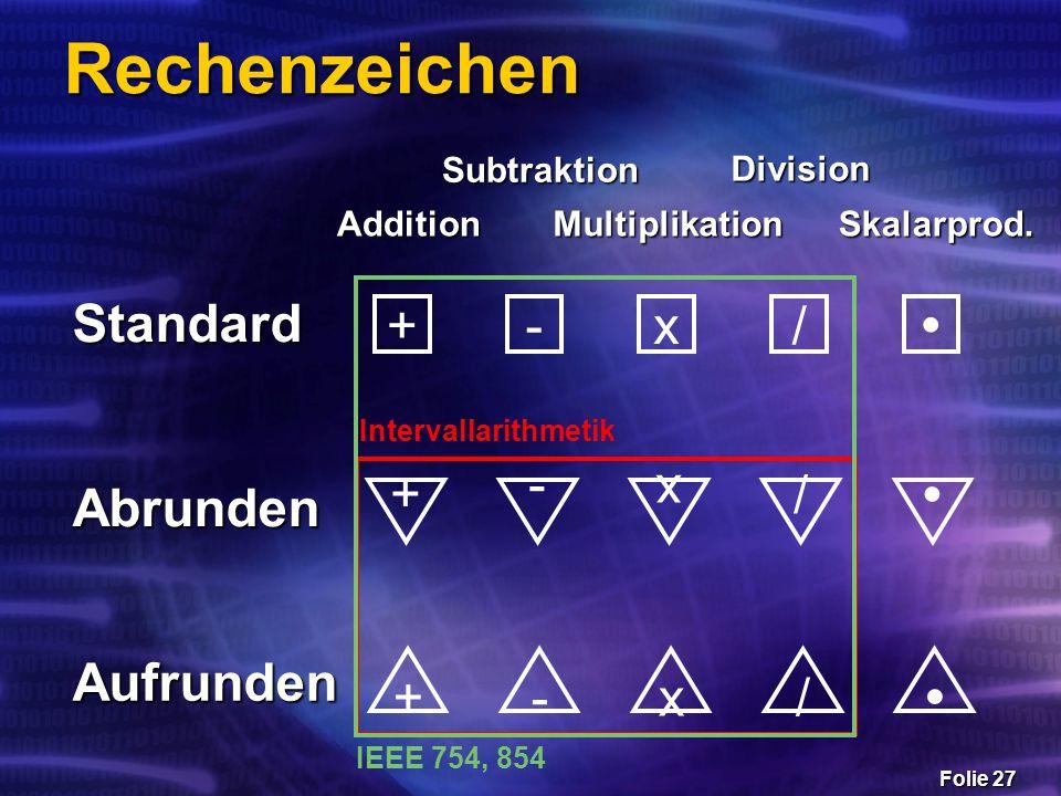 Folie 27 Rechenzeichen x-+/  x-+/  +-x/  Standard Abrunden Aufrunden Addition Subtraktion Multiplikation Division Skalarprod. Intervallarithmetik I