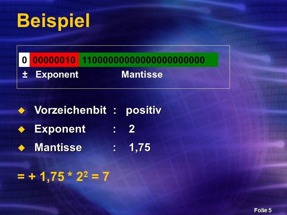 Folie 16 Beispiel a = 1,109632969473378 * 10 0 b = 6,748659387134009 * 10 -12 a + b – a = .