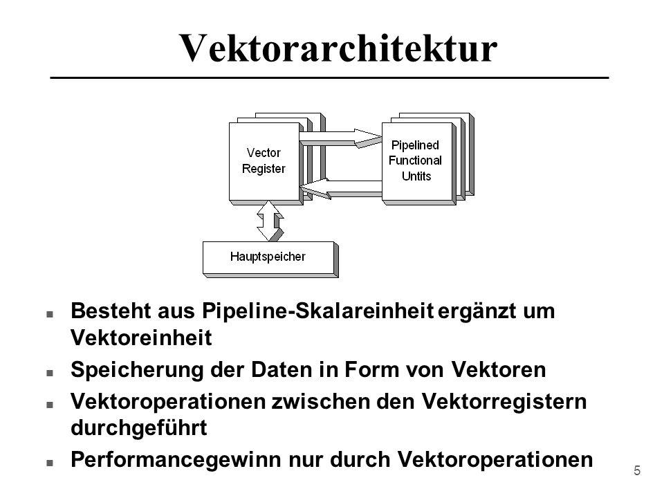 5 Vektorarchitektur n Besteht aus Pipeline-Skalareinheit ergänzt um Vektoreinheit n Speicherung der Daten in Form von Vektoren n Vektoroperationen zwischen den Vektorregistern durchgeführt n Performancegewinn nur durch Vektoroperationen