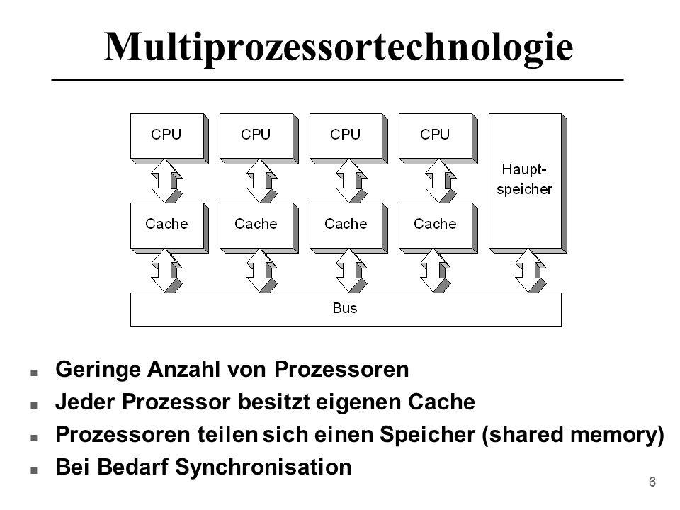 6 Multiprozessortechnologie n Geringe Anzahl von Prozessoren n Jeder Prozessor besitzt eigenen Cache n Prozessoren teilen sich einen Speicher (shared memory) n Bei Bedarf Synchronisation