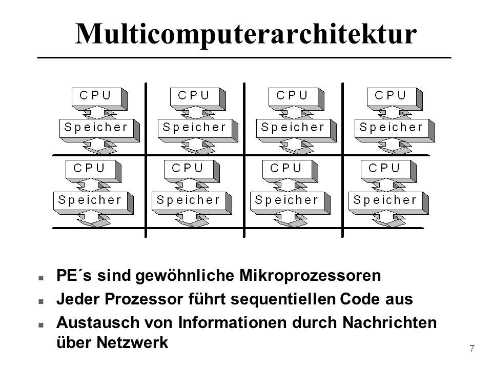 7 Multicomputerarchitektur n PE´s sind gewöhnliche Mikroprozessoren n Jeder Prozessor führt sequentiellen Code aus n Austausch von Informationen durch Nachrichten über Netzwerk