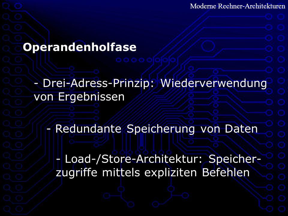 Moderne Rechner-Architekturen Operandenholfase - Load-/Store-Architektur: Speicher- zugriffe mittels expliziten Befehlen - Redundante Speicherung von Daten - Drei-Adress-Prinzip: Wiederverwendung von Ergebnissen