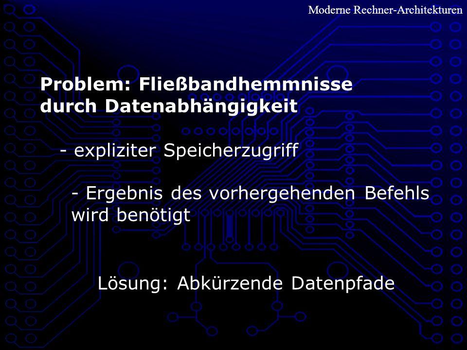 Moderne Rechner-Architekturen Problem: Fließbandhemmnisse durch Datenabhängigkeit - expliziter Speicherzugriff - Ergebnis des vorhergehenden Befehls wird benötigt Lösung: Abkürzende Datenpfade