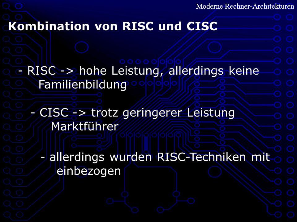 Moderne Rechner-Architekturen Kombination von RISC und CISC - RISC -> hohe Leistung, allerdings keine Familienbildung - CISC -> trotz geringerer Leistung Marktführer - allerdings wurden RISC-Techniken mit einbezogen