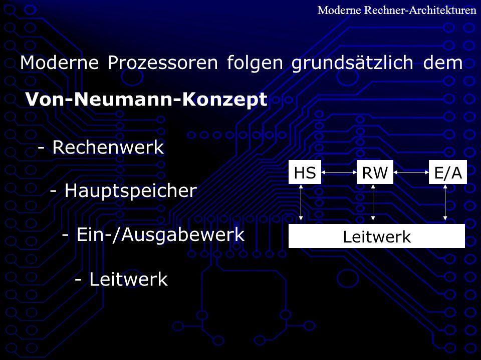 Moderne Rechner-Architekturen Von-Neumann-Konzept Moderne Prozessoren folgen grundsätzlich dem RW - Rechenwerk - Hauptspeicher HS - Ein-/Ausgabewerk E/A - Leitwerk Leitwerk