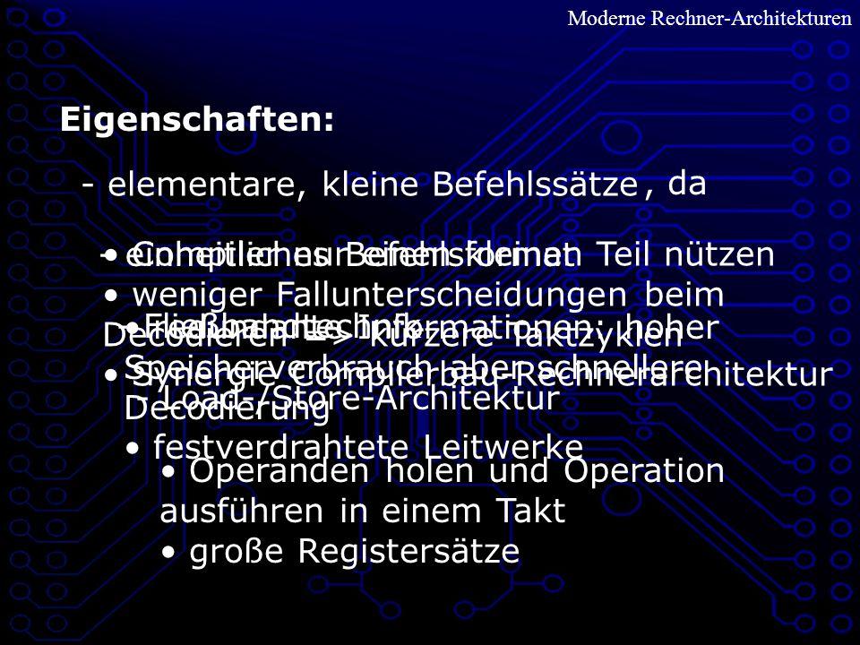 Moderne Rechner-Architekturen VLIW – Zusammensetzung Unterbefehl/ Operation 1 Unterbefehl/ Operation 2...
