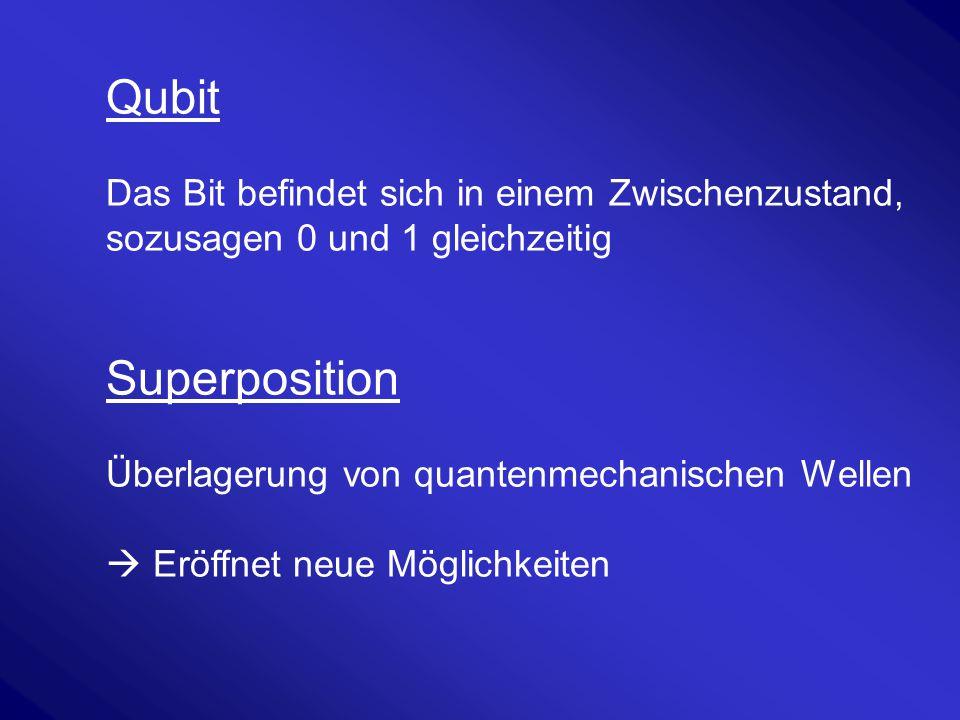 Qubit Das Bit befindet sich in einem Zwischenzustand, sozusagen 0 und 1 gleichzeitig Superposition Überlagerung von quantenmechanischen Wellen  Eröff