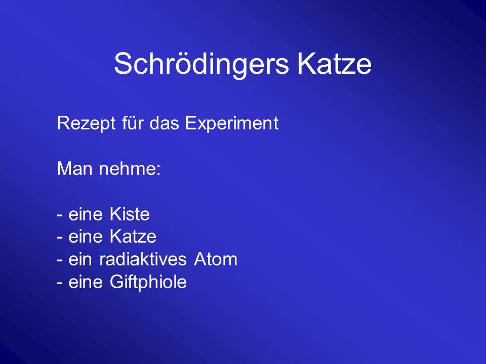 Schrödingers Katze Rezept für das Experiment Man nehme: - eine Kiste - eine Katze - ein radiaktives Atom - eine Giftphiole