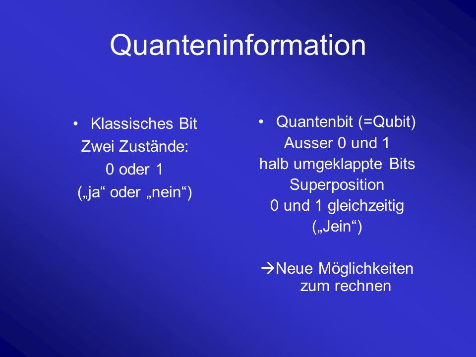 """Quanteninformation Klassisches Bit Zwei Zustände: 0 oder 1 (""""ja"""" oder """"nein"""") Quantenbit (=Qubit) Ausser 0 und 1 halb umgeklappte Bits Superposition 0"""