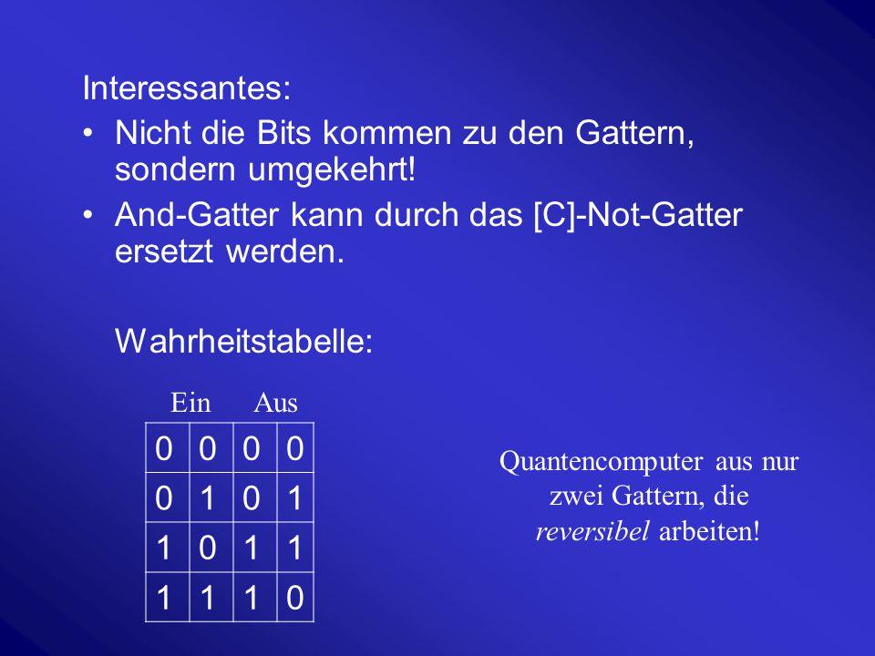 Interessantes: Nicht die Bits kommen zu den Gattern, sondern umgekehrt! And-Gatter kann durch das [C]-Not-Gatter ersetzt werden. Wahrheitstabelle: Qua