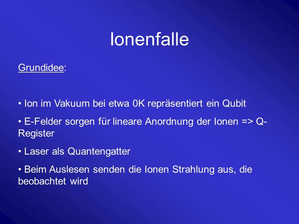 Ionenfalle Grundidee: Ion im Vakuum bei etwa 0K repräsentiert ein Qubit E-Felder sorgen für lineare Anordnung der Ionen => Q- Register Laser als Quant