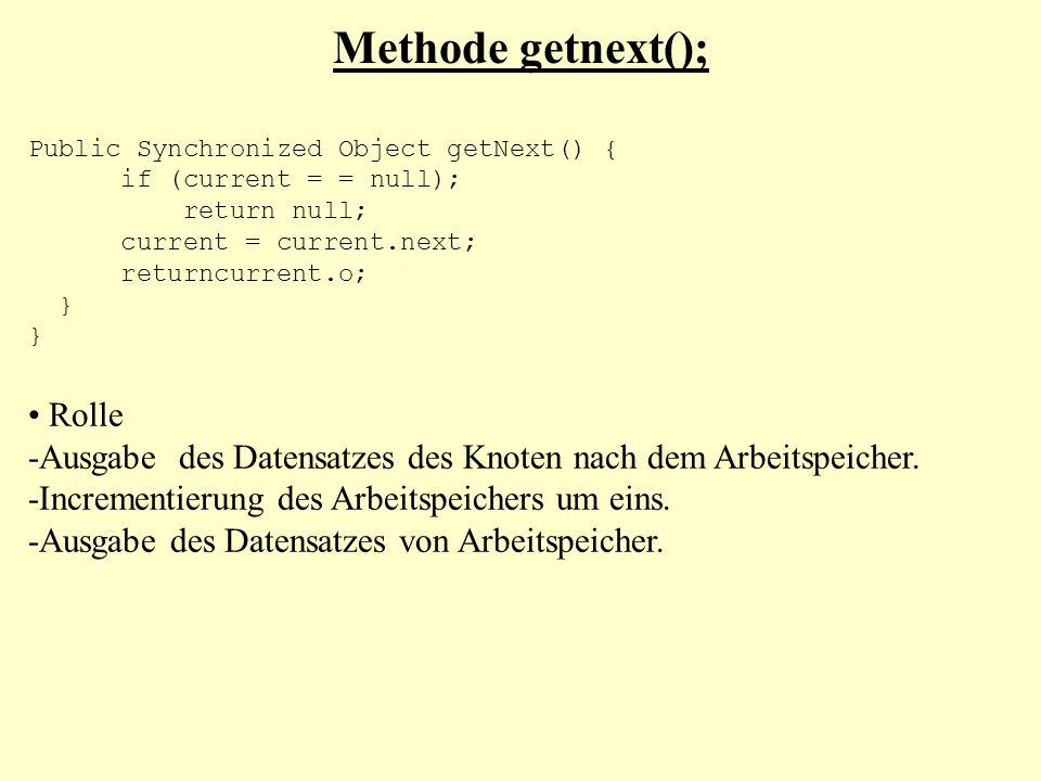 Methode getnext(); Public Synchronized Object getNext() { if (current = = null); return null; current = current.next; returncurrent.o; } Rolle -Ausgab