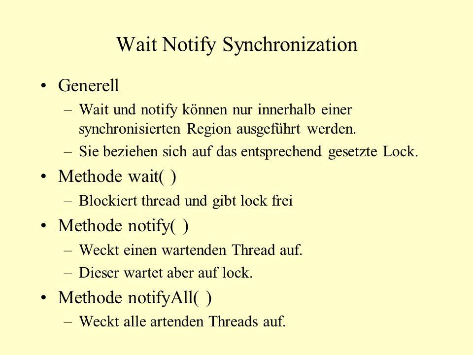 Wait Notify Synchronization Generell –Wait und notify können nur innerhalb einer synchronisierten Region ausgeführt werden. –Sie beziehen sich auf das