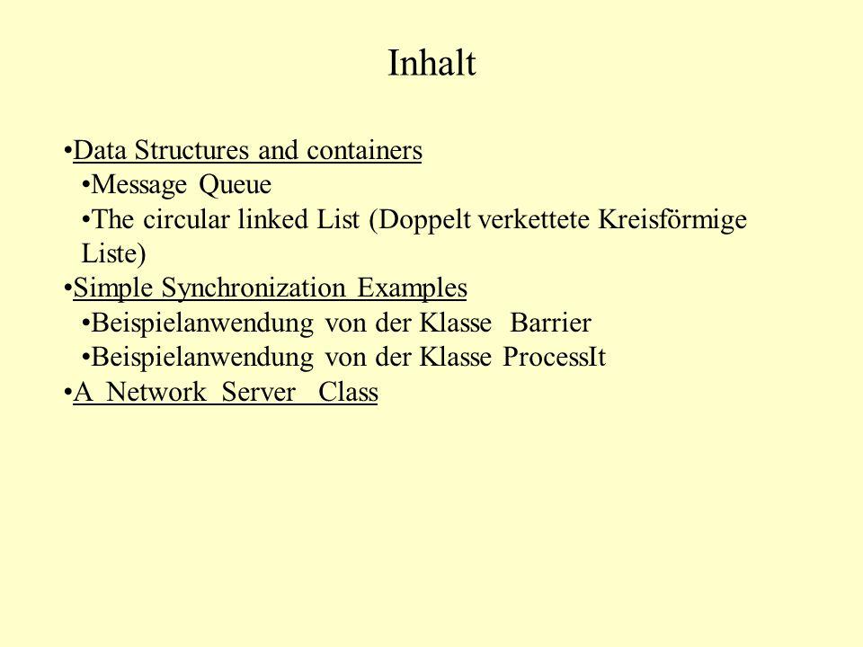 Rolle der Message Queue MsgQueue ist eine Technik des IPC ( Interprocess Communication) benutzt in Unix Systemen Realisierung von Nachrichtenaustausch zwischen Threads in Java Basiert auf der Vector-Klasse von Java Zwei Methoden werden benutzt: Eine Methode send(), um data zu anderem System zu schicken.