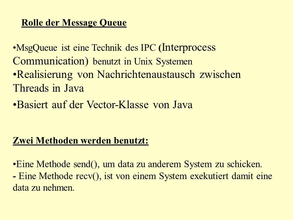 Rolle der Message Queue MsgQueue ist eine Technik des IPC ( Interprocess Communication) benutzt in Unix Systemen Realisierung von Nachrichtenaustausch