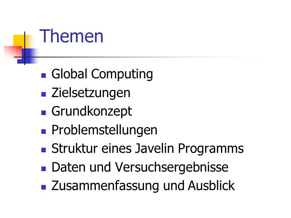 Themen Global Computing Zielsetzungen Grundkonzept Problemstellungen Struktur eines Javelin Programms Daten und Versuchsergebnisse Zusammenfassung und
