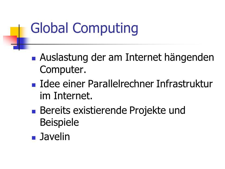 Global Computing Auslastung der am Internet hängenden Computer. Idee einer Parallelrechner Infrastruktur im Internet. Bereits existierende Projekte un