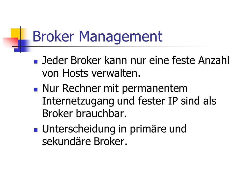 Broker Management Jeder Broker kann nur eine feste Anzahl von Hosts verwalten. Nur Rechner mit permanentem Internetzugang und fester IP sind als Broke