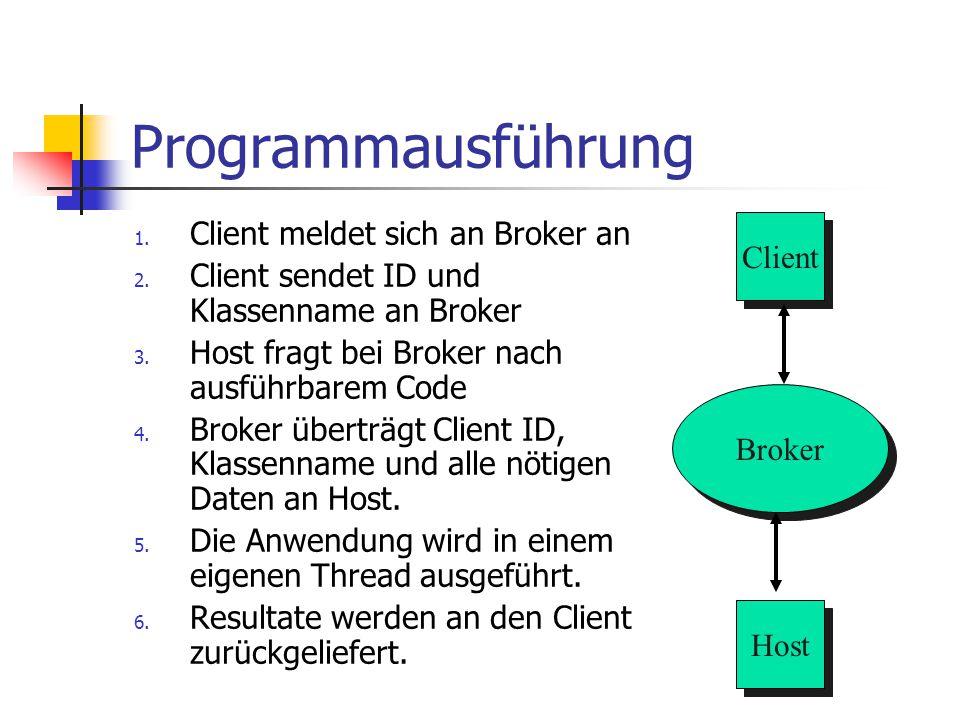 Programmausführung 1. Client meldet sich an Broker an 2. Client sendet ID und Klassenname an Broker 3. Host fragt bei Broker nach ausführbarem Code 4.