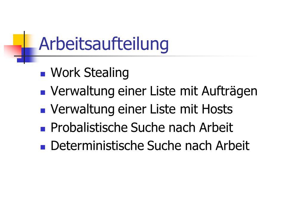 Arbeitsaufteilung Work Stealing Verwaltung einer Liste mit Aufträgen Verwaltung einer Liste mit Hosts Probalistische Suche nach Arbeit Deterministische Suche nach Arbeit