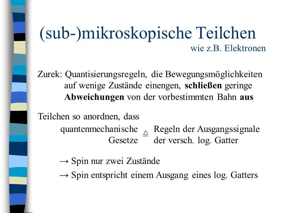 (sub-)mikroskopische Teilchen wie z.B. Elektronen Zurek: Quantisierungsregeln, die Bewegungsmöglichkeiten auf wenige Zustände einengen, schließen geri