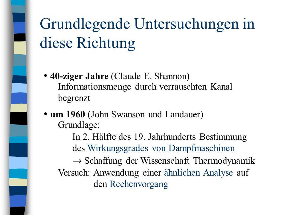 Grundlegende Untersuchungen in diese Richtung Versuch: Anwendung einer ähnlichen Analyse auf den Rechenvorgang 40-ziger Jahre (Claude E. Shannon) Info
