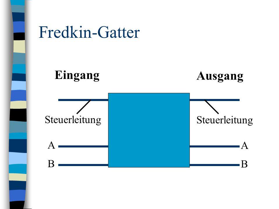 Fredkin-Gatter Eingang Ausgang A B A B Steuerleitung