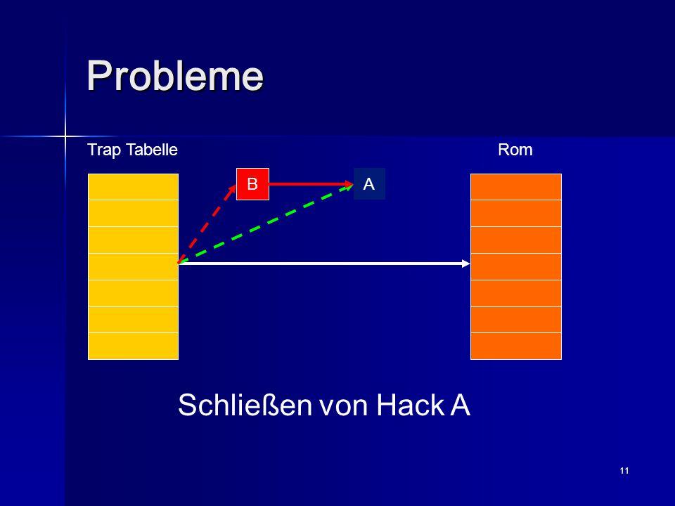 11 Probleme Trap TabelleRom A B Schließen von Hack A