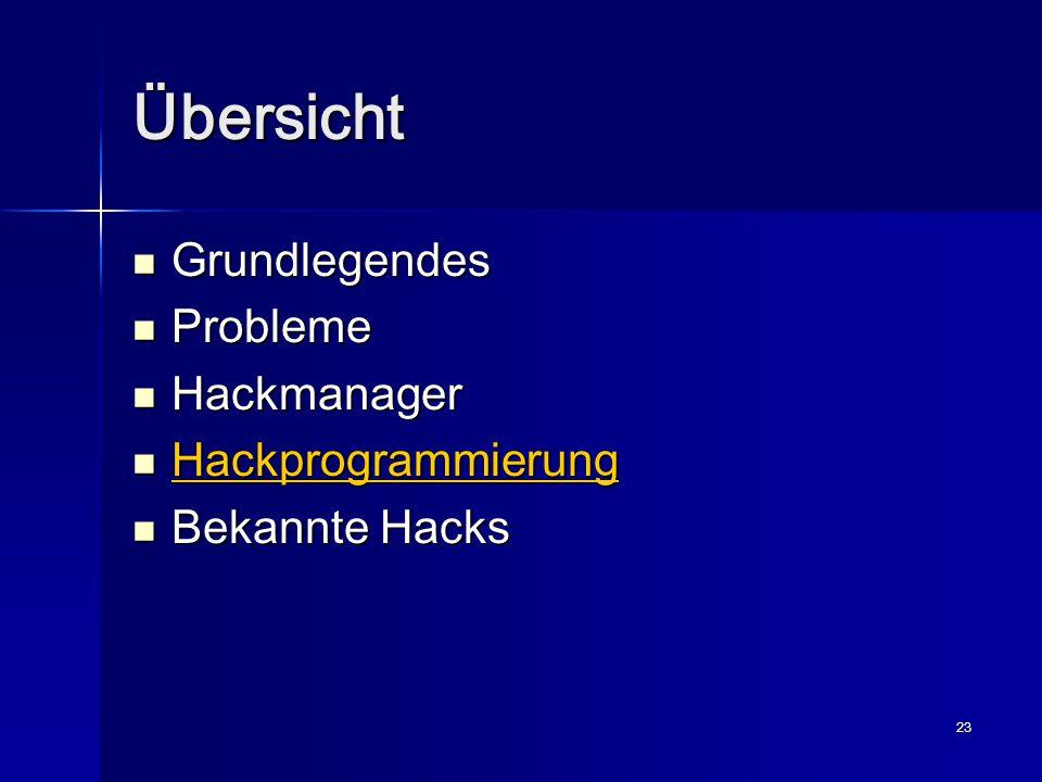 23 Übersicht Grundlegendes Grundlegendes Probleme Probleme Hackmanager Hackmanager Hackprogrammierung Hackprogrammierung Bekannte Hacks Bekannte Hacks