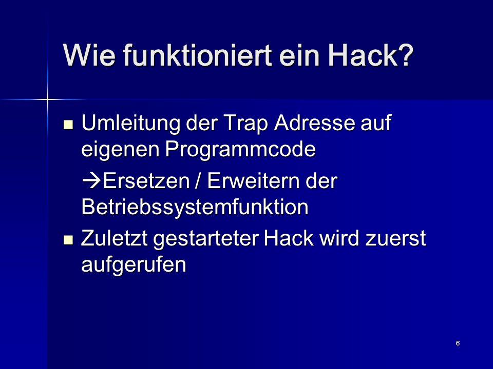 17 EVPlugBase Entwickelt 1998 von EVSoft Entwickelt 1998 von EVSoft Letzte Version von Ende 1999 Letzte Version von Ende 1999 Schützt aktive Hacks vor Überschreiben Schützt aktive Hacks vor Überschreiben Unterstützt Gruppierung von Hacks Unterstützt Gruppierung von Hacks Anzeige der gepatchten Funktionen Anzeige der gepatchten Funktionen Reihenfolge der Hacks Reihenfolge der Hacks Erweiterung der API durch eigene Funktionen Erweiterung der API durch eigene Funktionen