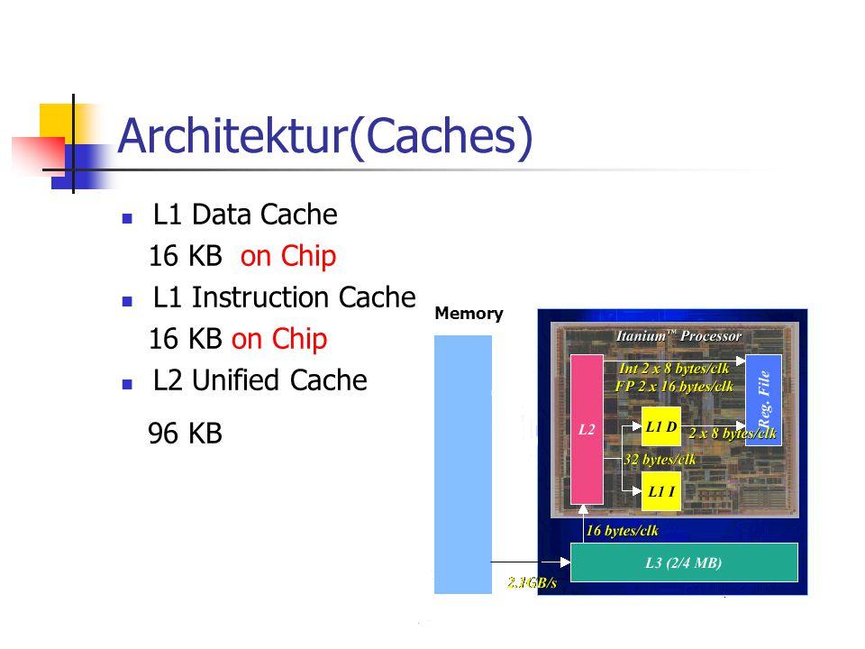 Architektur(Caches) L1 Data Cache 16 KB on Chip L1 Instruction Cache 16 KB on Chip L2 Unified Cache 96 KB Memory