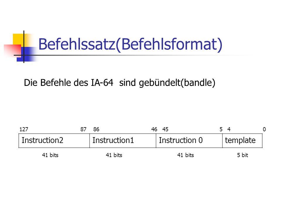 Befehlssatz(Befehlsformat) Instruction2Instruction1Instruction 0template 127 87 86 46 45 5 4 0 41 bits41 bits 41 bits 5 bit Die Befehle des IA-64 sind gebündelt(bandle)