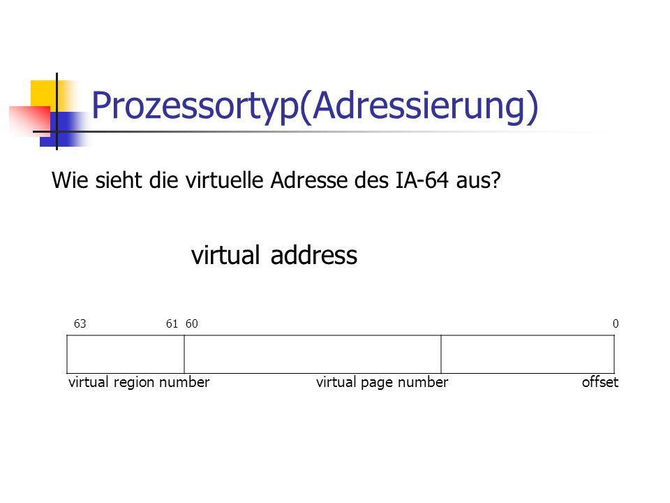 Prozessortyp(Adressierung) Wie sieht die virtuelle Adresse des IA-64 aus.