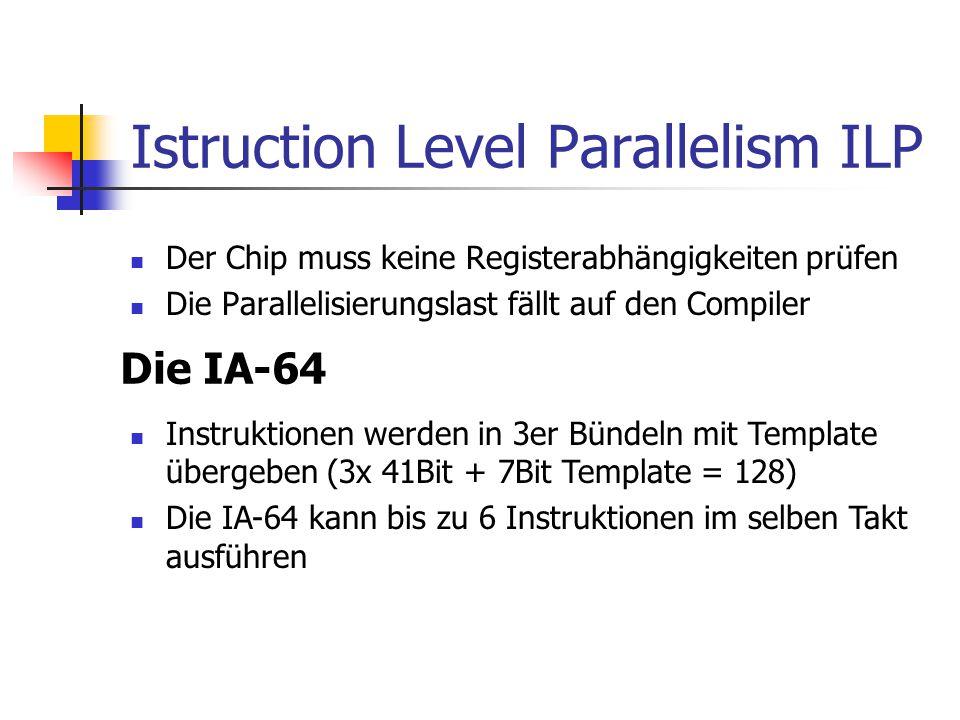 Istruction Level Parallelism ILP Der Chip muss keine Registerabhängigkeiten prüfen Die Parallelisierungslast fällt auf den Compiler Die IA-64 Instruktionen werden in 3er Bündeln mit Template übergeben (3x 41Bit + 7Bit Template = 128) Die IA-64 kann bis zu 6 Instruktionen im selben Takt ausführen
