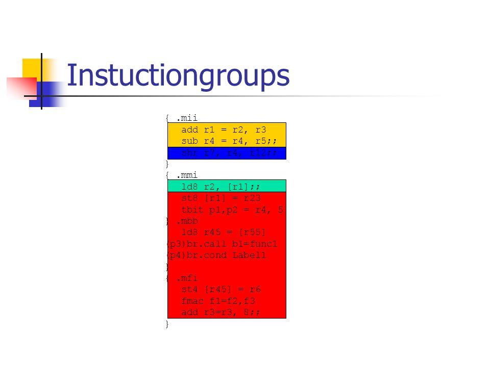 Instuctiongroups {.mii add r1 = r2, r3 sub r4 = r4, r5;; shr r7, r4, r12;; } {.mmi ld8 r2, [r1];; st8 [r1] = r23 tbit p1,p2 = r4, 5 }.mbb ld8 r45 = [r55] (p3)br.call b1=func1 (p4)br.cond Label1 } {.mfi st4 [r45] = r6 fmac f1=f2,f3 add r3=r3, 8;; }