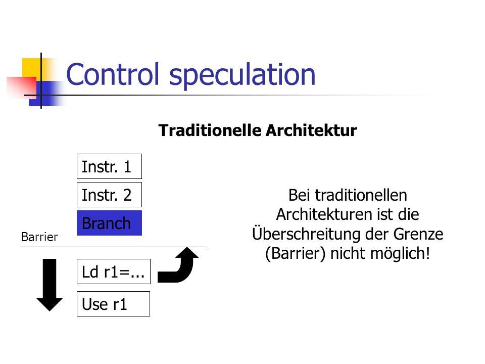 Control speculation Instr.1 Instr. 2 Branch Ld r1=...