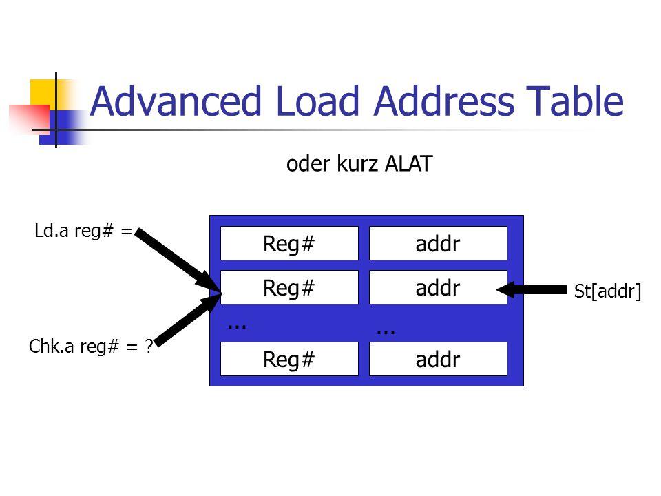 Advanced Load Address Table oder kurz ALAT Reg#addr Reg# addr...