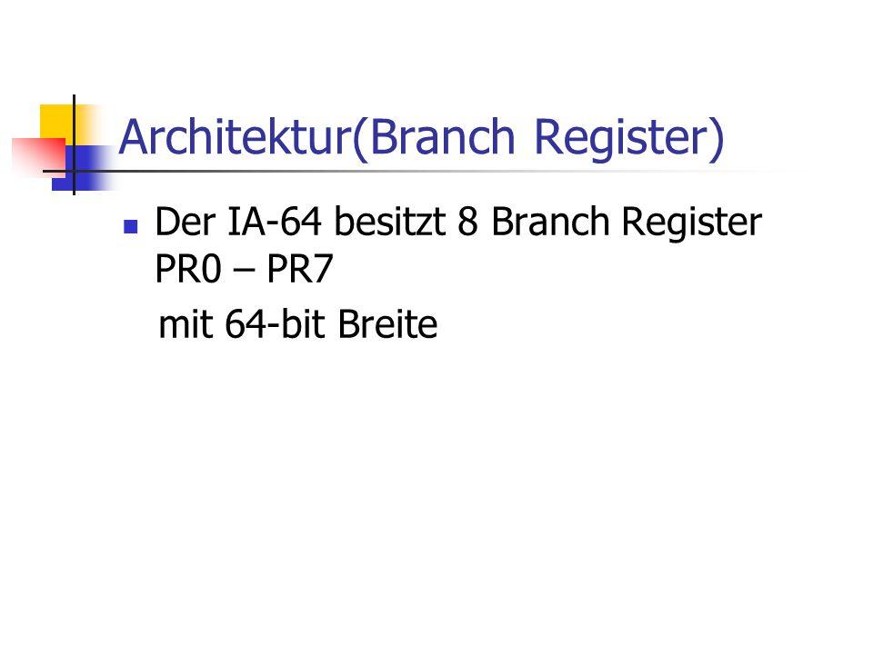 Architektur(Branch Register) Der IA-64 besitzt 8 Branch Register PR0 – PR7 mit 64-bit Breite