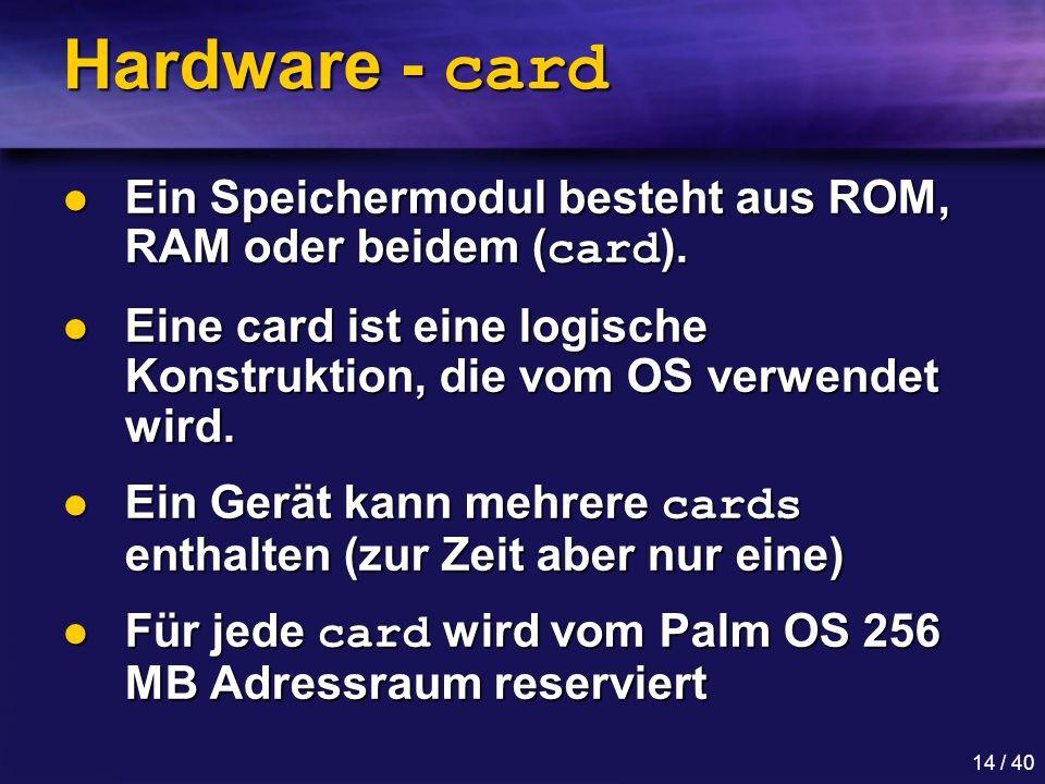 14 / 40 Hardware - card Ein Speichermodul besteht aus ROM, RAM oder beidem ( card ).