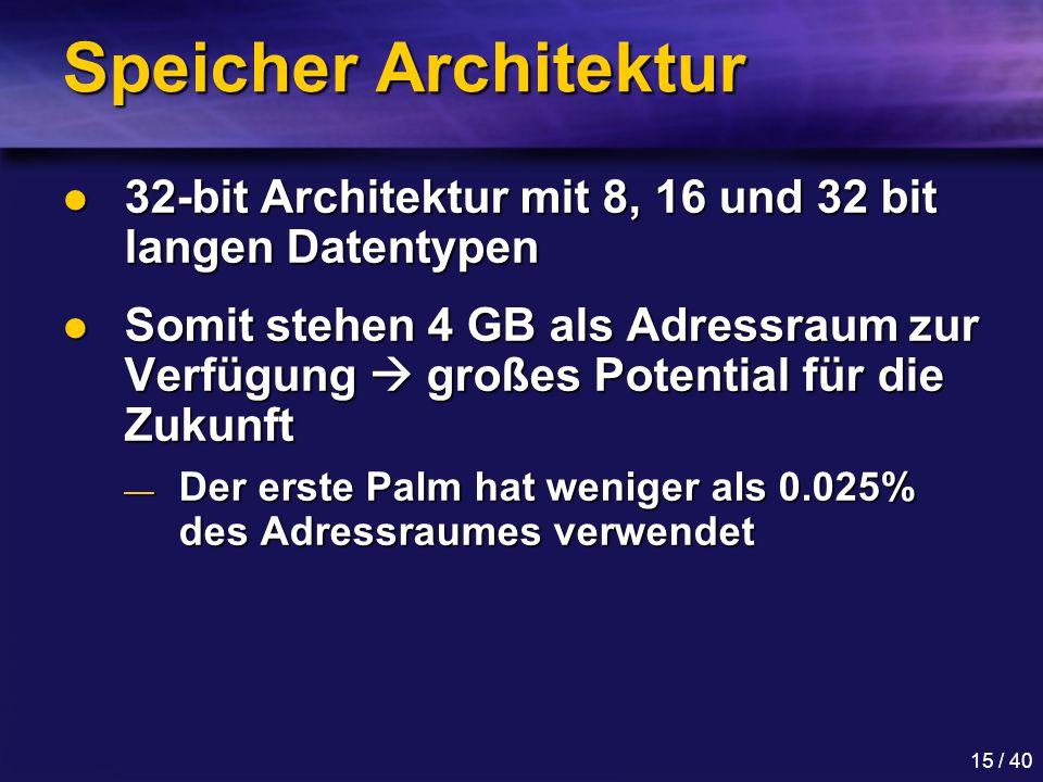 15 / 40 Speicher Architektur 32-bit Architektur mit 8, 16 und 32 bit langen Datentypen 32-bit Architektur mit 8, 16 und 32 bit langen Datentypen Somit stehen 4 GB als Adressraum zur Verfügung  großes Potential für die Zukunft Somit stehen 4 GB als Adressraum zur Verfügung  großes Potential für die Zukunft — Der erste Palm hat weniger als 0.025% des Adressraumes verwendet
